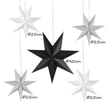 Faltstern Weihnachten, 7 Zacken Stern zum Aufhängen, Papier Stern Dekoration 5er Set Faltsterne Weihnachtsstern Deko, Sterne Papier zum Fenster Dekoration, Weihnachtsbaum, Advent - 2