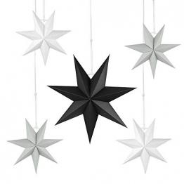 Faltstern Weihnachten, 7 Zacken Stern zum Aufhängen, Papier Stern Dekoration 5er Set Faltsterne Weihnachtsstern Deko, Sterne Papier zum Fenster Dekoration, Weihnachtsbaum, Advent - 1