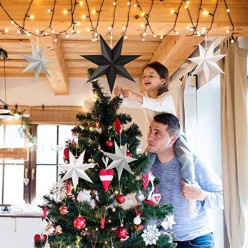 Faltstern Weihnachten, 7 Zacken Stern zum Aufhängen, Papier Stern Dekoration 5er Set Faltsterne Weihnachtsstern Deko, Sterne Papier zum Fenster Dekoration, Weihnachtsbaum, Advent - 5