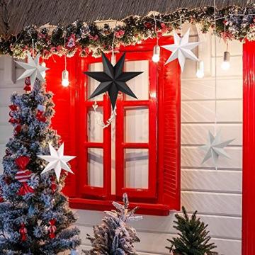 Faltstern Weihnachten, 7 Zacken Stern zum Aufhängen, Papier Stern Dekoration 5er Set Faltsterne Weihnachtsstern Deko, Sterne Papier zum Fenster Dekoration, Weihnachtsbaum, Advent - 6
