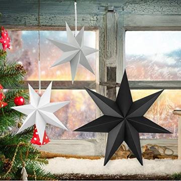 Faltstern Weihnachten, 7 Zacken Stern zum Aufhängen, Papier Stern Dekoration 5er Set Faltsterne Weihnachtsstern Deko, Sterne Papier zum Fenster Dekoration, Weihnachtsbaum, Advent - 7