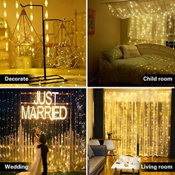 Fulighture LED Lichtervorhang,3M * 3M 300 Leds USB Lichtervorhang mit Fernbedienung,IP67 Wasserfest,Warmweiß,8 Modi Lichterkettenvorhang für Weihnachten Party, Innen und außen Deko - 2