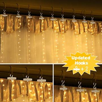 Fulighture LED Lichtervorhang,3M * 3M 300 Leds USB Lichtervorhang mit Fernbedienung,IP67 Wasserfest,Warmweiß,8 Modi Lichterkettenvorhang für Weihnachten Party, Innen und außen Deko - 3