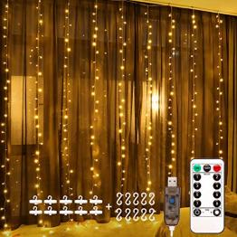 Fulighture LED Lichtervorhang,3M * 3M 300 Leds USB Lichtervorhang mit Fernbedienung,IP67 Wasserfest,Warmweiß,8 Modi Lichterkettenvorhang für Weihnachten Party, Innen und außen Deko - 1