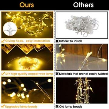 Fulighture LED Lichtervorhang,3M * 3M 300 Leds USB Lichtervorhang mit Fernbedienung,IP67 Wasserfest,Warmweiß,8 Modi Lichterkettenvorhang für Weihnachten Party, Innen und außen Deko - 4