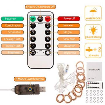 Fulighture LED Lichtervorhang,3M * 3M 300 Leds USB Lichtervorhang mit Fernbedienung,IP67 Wasserfest,Warmweiß,8 Modi Lichterkettenvorhang für Weihnachten Party, Innen und außen Deko - 5