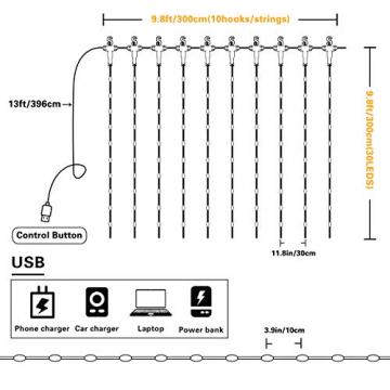 Fulighture LED Lichtervorhang,3M * 3M 300 Leds USB Lichtervorhang mit Fernbedienung,IP67 Wasserfest,Warmweiß,8 Modi Lichterkettenvorhang für Weihnachten Party, Innen und außen Deko - 6