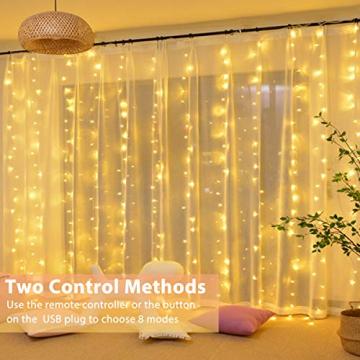 Fulighture LED Lichtervorhang,3M * 3M 300 Leds USB Lichtervorhang mit Fernbedienung,IP67 Wasserfest,Warmweiß,8 Modi Lichterkettenvorhang für Weihnachten Party, Innen und außen Deko - 7