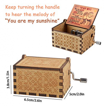 Geschenk für Frau vom Ehemann, Geburtstagsgeschenk für Frau Weiblich Holz Graviert Vintage Handkurbel Spieluhren für Liebe Frau Freundin Valentinstag Weihnachten Hochzeitstag Geschenk - 5