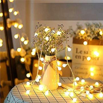 Globe Lichterkette für Innen und Außen, LED Kugel Lichterkette 8 Leuchtmodi, ideale Partylichterkette IP65 Wasserdicht mit IR Fernbedienung für Weihnachtsdeko, Hochzeit, Party , Garten - 3