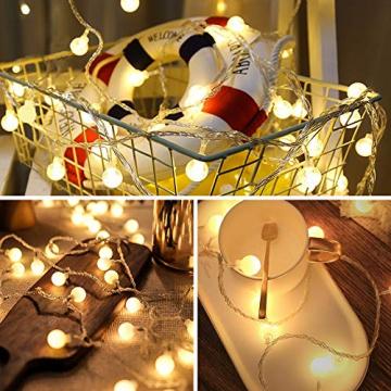 Globe Lichterkette für Innen und Außen, LED Kugel Lichterkette 8 Leuchtmodi, ideale Partylichterkette IP65 Wasserdicht mit IR Fernbedienung für Weihnachtsdeko, Hochzeit, Party , Garten - 4