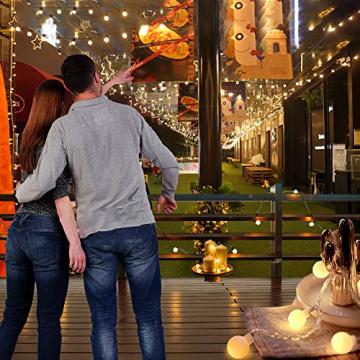 Globe Lichterkette für Innen und Außen, LED Kugel Lichterkette 8 Leuchtmodi, ideale Partylichterkette IP65 Wasserdicht mit IR Fernbedienung für Weihnachtsdeko, Hochzeit, Party , Garten - 7