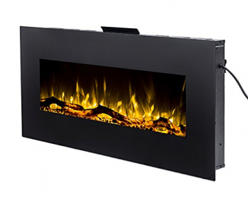 GLOW FIRE Elektrokamin mit Heizung, Wandkamin mit LED | Künstliches Feuer mit zuschaltbarem Heizlüfter: 750/1500 W | Fernbedienung (Größe M - 110 cm, Schwarz) - 3