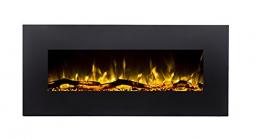 GLOW FIRE Elektrokamin mit Heizung, Wandkamin mit LED   Künstliches Feuer mit zuschaltbarem Heizlüfter: 750/1500 W   Fernbedienung (Größe M - 110 cm, Schwarz) - 1
