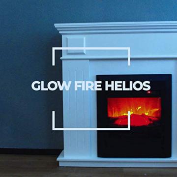 GLOW FIRE Helios Elektrokamin mit Heizung, Wandkamin und Standkamin mit LED | Künstliches Feuer mit zuschaltbarem Heizlüfter: 750/1500 W | Fernbedienung, Dimmer, Kaminsims, Weiß - 4