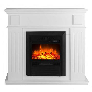 GLOW FIRE Helios Elektrokamin mit Heizung, Wandkamin und Standkamin mit LED | Künstliches Feuer mit zuschaltbarem Heizlüfter: 750/1500 W | Fernbedienung, Dimmer, Kaminsims, Weiß - 1