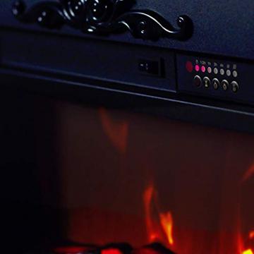 GLOW FIRE Helios Elektrokamin mit Heizung, Wandkamin und Standkamin mit LED | Künstliches Feuer mit zuschaltbarem Heizlüfter: 750/1500 W | Fernbedienung, Dimmer, Kaminsims, Weiß - 7