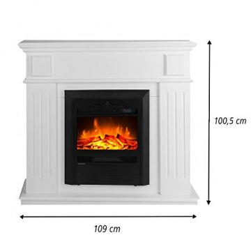 GLOW FIRE Helios Elektrokamin mit Heizung, Wandkamin und Standkamin mit LED | Künstliches Feuer mit zuschaltbarem Heizlüfter: 750/1500 W | Fernbedienung, Dimmer, Kaminsims, Weiß - 8