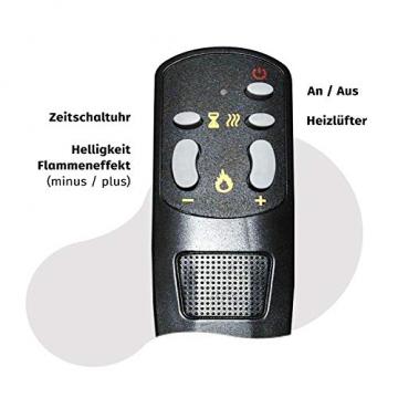 GLOW FIRE Helios Elektrokamin mit Heizung, Wandkamin und Standkamin mit LED | Künstliches Feuer mit zuschaltbarem Heizlüfter: 750/1500 W | Fernbedienung, Dimmer, Kaminsims, Weiß - 9