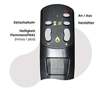 GLOW FIRE Jupiter Curved Elektrokamin, 90 cm breit, Standkamin und Wandkamin mit LED | Künstliches Feuer ohne Heizung | Fernbedienung, Dimmer, Weiß - 5