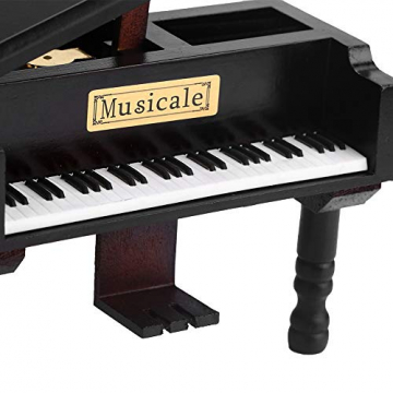 Grand Piano Shaped Wind Up Wooded Music Box, mit kleinem Hocker Creative Music Box Geschenk für Weihnachten/Geburtstag/Valentinstag, Melodie Castle in The Sky - 3