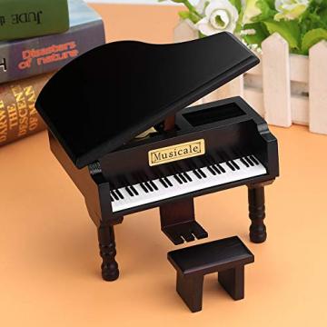 Grand Piano Shaped Wind Up Wooded Music Box, mit kleinem Hocker Creative Music Box Geschenk für Weihnachten/Geburtstag/Valentinstag, Melodie Castle in The Sky - 4