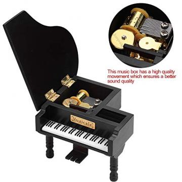 Grand Piano Shaped Wind Up Wooded Music Box, mit kleinem Hocker Creative Music Box Geschenk für Weihnachten/Geburtstag/Valentinstag, Melodie Castle in The Sky - 5