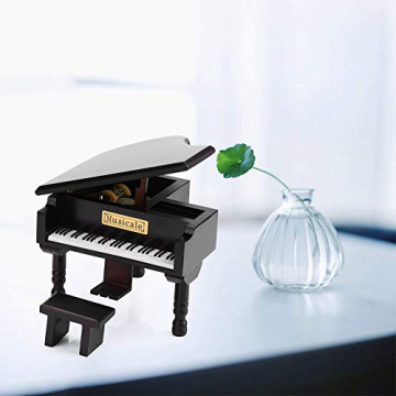 Grand Piano Shaped Wind Up Wooded Music Box, mit kleinem Hocker Creative Music Box Geschenk für Weihnachten/Geburtstag/Valentinstag, Melodie Castle in The Sky - 7