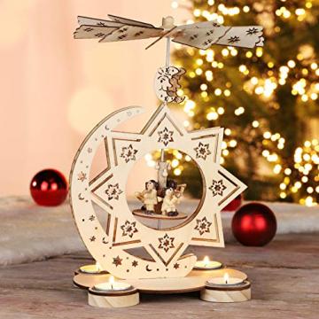 HI Weihnachtspyramide aus Holz für 4 Teelichter, Feine Verzierungen + drehbare Ebene mit Engelsorchester - 2