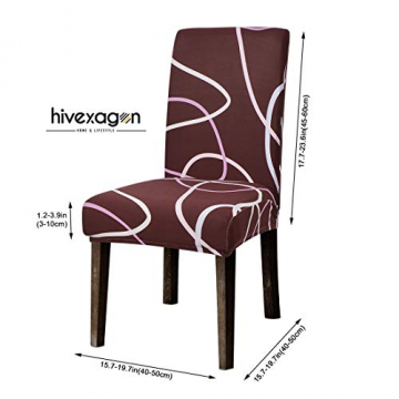 Hivexagon Beschützer Stuhlhussen 4er Set, Universal Stretch Stuhlkissen Sessel überzug stuhlbezüge Protector Cover für Weihnachten Haus Esszimmer Moderne Hochzeit Bouquet, Hotel, Restaurant Dekor - 5