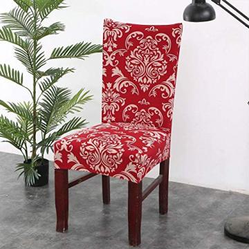Homaxy Universal Stretch Stuhlhussen 2er 4er 6er Set Stuhlbezug für Stuhl Esszimmer (4er Set, Style 17) - 2