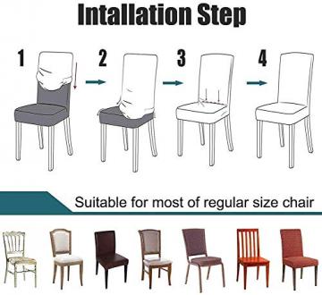 Homaxy Universal Stretch Stuhlhussen 2er 4er 6er Set Stuhlbezug für Stuhl Esszimmer (4er Set, Style 17) - 6
