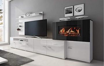 Home innovation-Wohnmöbel mit elektrischem Kamin mit 5 Flammenstufen, Oberfläche Mattweiß und Hochweiß lackiert, Maße: 290 x 170 x 45 cm tief - 2