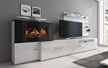 Home innovation-Wohnmöbel mit elektrischem Kamin mit 5 Flammenstufen, Oberfläche Mattweiß und Hochweiß lackiert, Maße: 290 x 170 x 45 cm tief - 1
