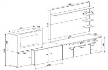 Home innovation-Wohnmöbel mit elektrischem Kamin mit 5 Flammenstufen, Oberfläche Mattweiß und Hochweiß lackiert, Maße: 290 x 170 x 45 cm tief - 5