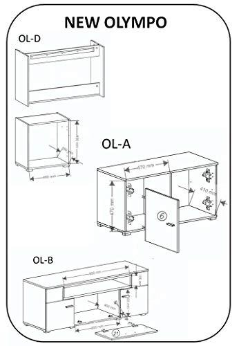 Home innovation-Wohnmöbel mit elektrischem Kamin mit 5 Flammenstufen, Oberfläche Mattweiß und Hochweiß lackiert, Maße: 290 x 170 x 45 cm tief - 6