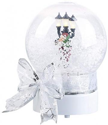infactory Schneekugel mit Musik: Schneekugel mit singendem Weihnachtsmann, berührungsaktiv, LED-Laterne (Schneekugeln) - 2