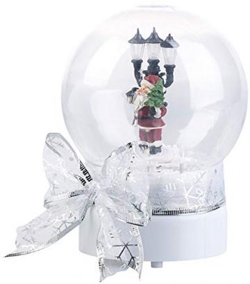 infactory Schneekugel mit Musik: Schneekugel mit singendem Weihnachtsmann, berührungsaktiv, LED-Laterne (Schneekugeln) - 3