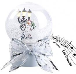 infactory Schneekugel mit Musik: Schneekugel mit singendem Weihnachtsmann, berührungsaktiv, LED-Laterne (Schneekugeln) - 1
