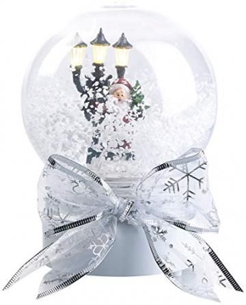 infactory Schneekugel mit Musik: Schneekugel mit singendem Weihnachtsmann, berührungsaktiv, LED-Laterne (Schneekugeln) - 4