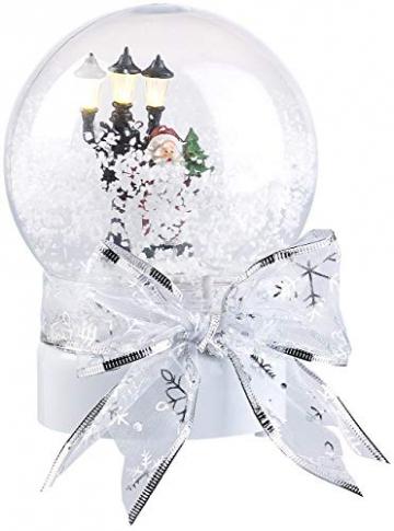 infactory Schneekugel mit Musik: Schneekugel mit singendem Weihnachtsmann, berührungsaktiv, LED-Laterne (Schneekugeln) - 5