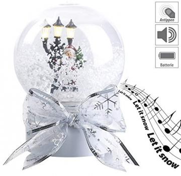 infactory Schneekugel mit Musik: Schneekugel mit singendem Weihnachtsmann, berührungsaktiv, LED-Laterne (Schneekugeln) - 6