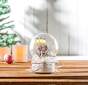 infactory Schneekugel mit Musik: Schneekugel mit singendem Weihnachtsmann, berührungsaktiv, LED-Laterne (Schneekugeln) - 7