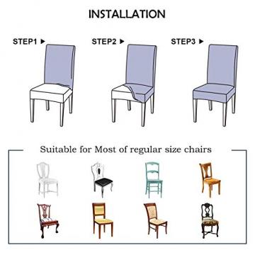 JOTOM Stuhlhussen Universal Stretch Stuhlbezug Elastische Moderne Stuhl Hussen Set Abnehmbare Weihnachten Dekoration Stuhlabdeckung für Esszimmer Party Hotel Restaurant Deko (Kreis, 4er Set) - 5