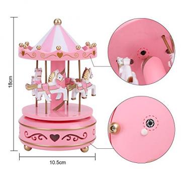 Karussell Hölzernes Vintage Spieluhr 4 Pferd Rotierende Musikbox mit bunter Beleuchtung LED Leuchtend Spielzeug Dekoration Weihnachten Geschenk für Mädchen Kinder - 2