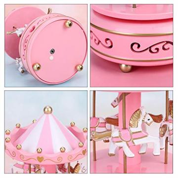 Karussell Hölzernes Vintage Spieluhr 4 Pferd Rotierende Musikbox mit bunter Beleuchtung LED Leuchtend Spielzeug Dekoration Weihnachten Geschenk für Mädchen Kinder - 3