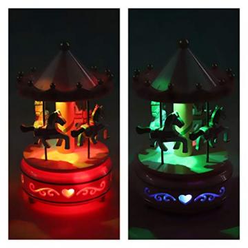 Karussell Hölzernes Vintage Spieluhr 4 Pferd Rotierende Musikbox mit bunter Beleuchtung LED Leuchtend Spielzeug Dekoration Weihnachten Geschenk für Mädchen Kinder - 4