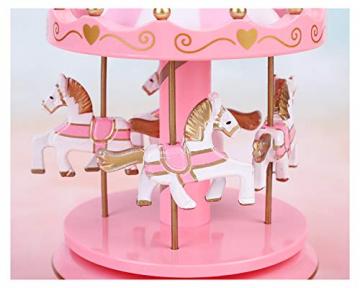Karussell Hölzernes Vintage Spieluhr 4 Pferd Rotierende Musikbox mit bunter Beleuchtung LED Leuchtend Spielzeug Dekoration Weihnachten Geschenk für Mädchen Kinder - 5