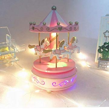 Karussell Hölzernes Vintage Spieluhr 4 Pferd Rotierende Musikbox mit bunter Beleuchtung LED Leuchtend Spielzeug Dekoration Weihnachten Geschenk für Mädchen Kinder - 6