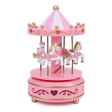 Karussell Hölzernes Vintage Spieluhr 4 Pferd Rotierende Musikbox mit bunter Beleuchtung LED Leuchtend Spielzeug Dekoration Weihnachten Geschenk für Mädchen Kinder - 7